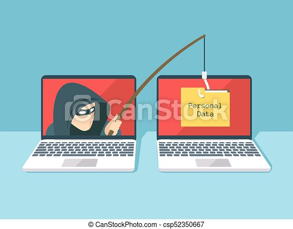 Phishing scam, hacker attack and web security vector concept - csp52350667