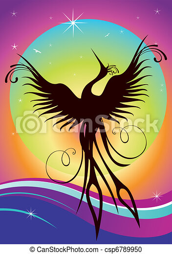 Phoenix bird silhouette re-birth - csp6789950