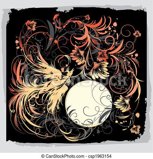 Phoenix Bird With Flowers - csp1963154