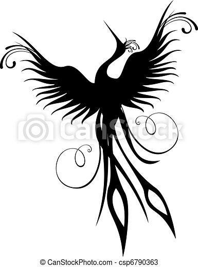 phoenix, pássaro, figura, isolado - csp6790363