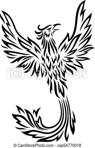 Phoenix tattoo isolated on white background - csp54770018