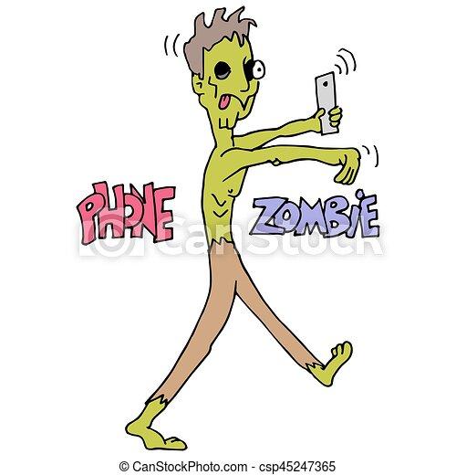 Phone Addicted Zombie - csp45247365