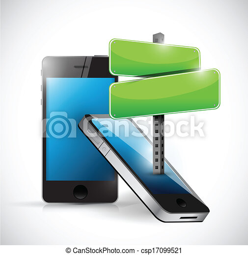 phone and road sign illustration - csp17099521