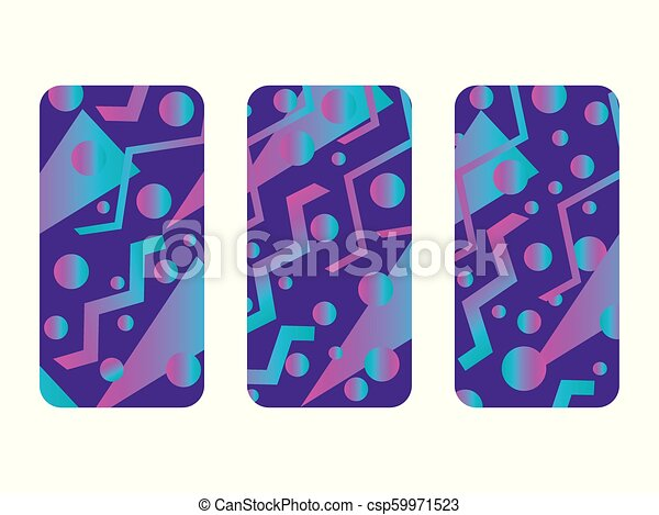 a09a69cabdd02f Phone Case Mockup. Memphis Pattern Background. Gradients Geometric Shape  Style Of The 80s.