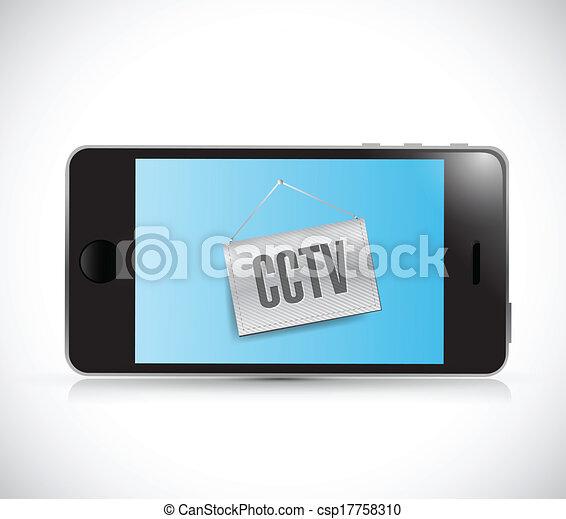 phone cctv sign illustration design - csp17758310