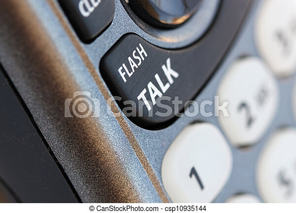 Phone closeup photo with talk button in selective focus. This is a macro image of the communication tool and can be used in blogs and websites. - csp10935144
