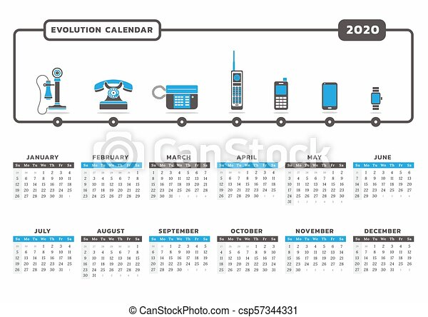 Calendar Year 2020.Phone Evolution Calendar 2020