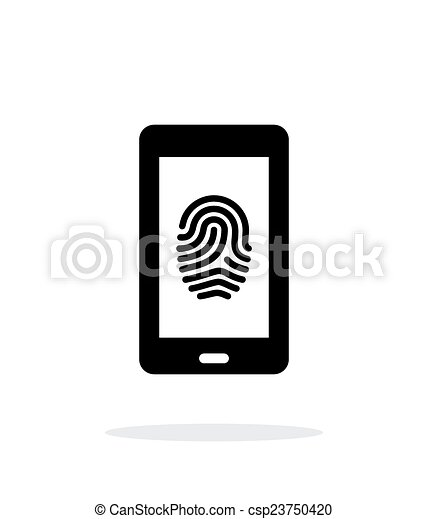 Phone fingerprint icon on white background. - csp23750420
