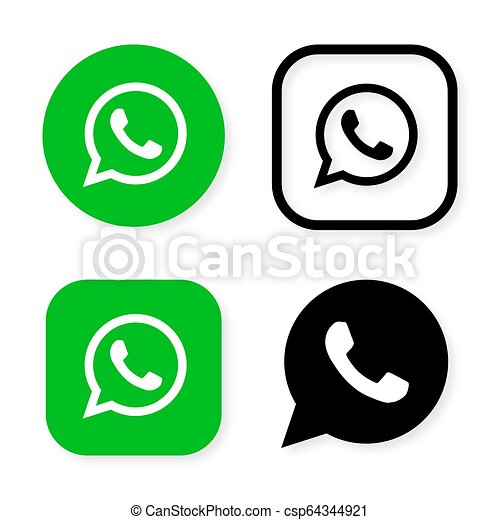 Phone handset icon in speech bubble on green background  Whats app  messenger logo icon, symbol, ui  Vector illustration
