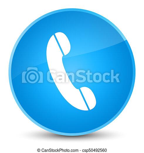 Phone icon elegant cyan blue round button - csp50492560