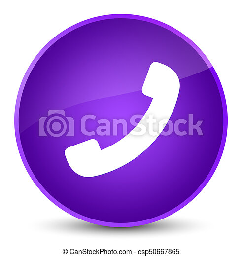 Phone icon elegant purple round button - csp50667865