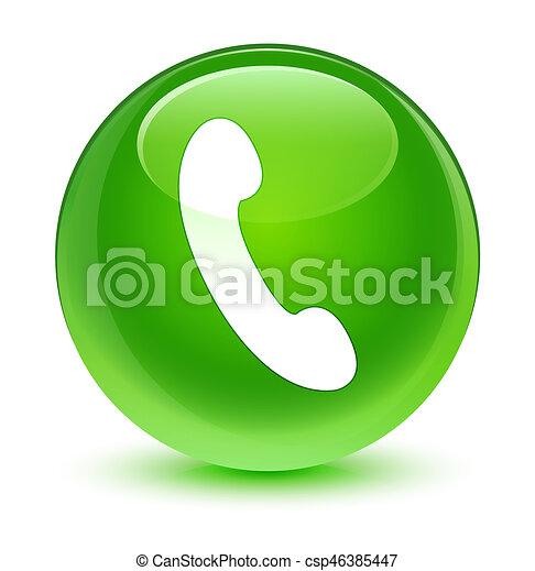 Phone icon glassy green round button - csp46385447