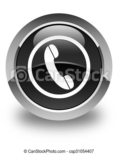 Phone icon glossy black round button - csp31054407