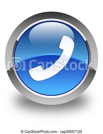 Phone icon glossy blue round button 2 - csp35057123