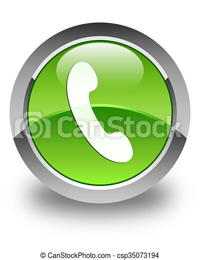 Phone icon glossy green round button 3 - csp35073194