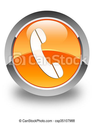 Phone icon glossy orange round button 4 - csp35107988