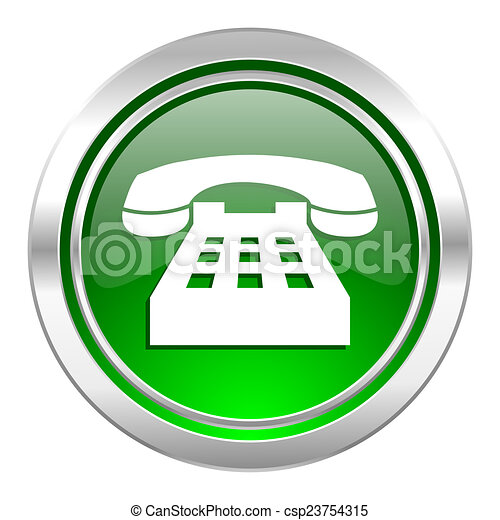 phone icon, green button, telephone sign - csp23754315