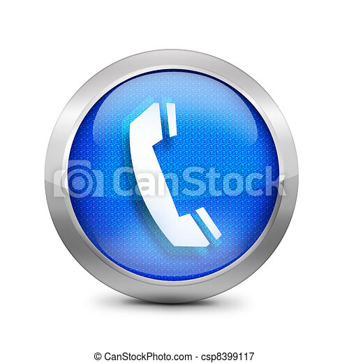 phone icon on a blue button - csp8399117