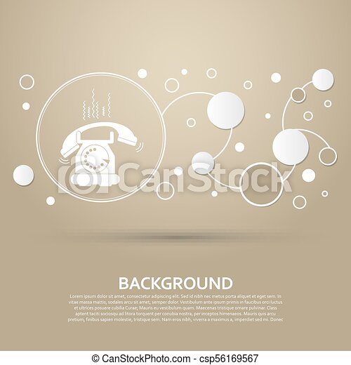 Phone Icon on a brown background with elegant style and modern design infographic. Vector - csp56169567