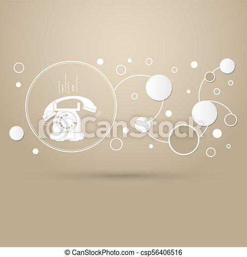 Phone Icon on a brown background with elegant style and modern design infographic. - csp56406516