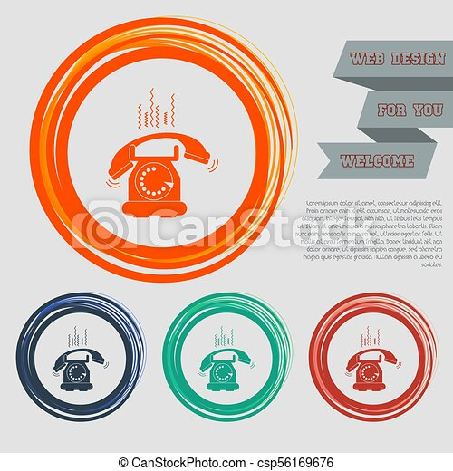 Phone Icon on the red, blue, green, orange buttons for your website and design with space text. Vector - csp56169676
