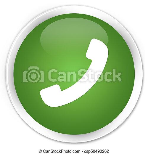 Phone icon premium soft green round button - csp50490262