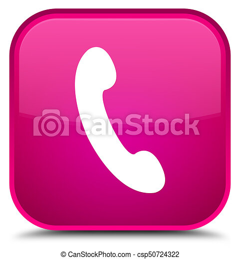 Phone icon special pink square button - csp50724322