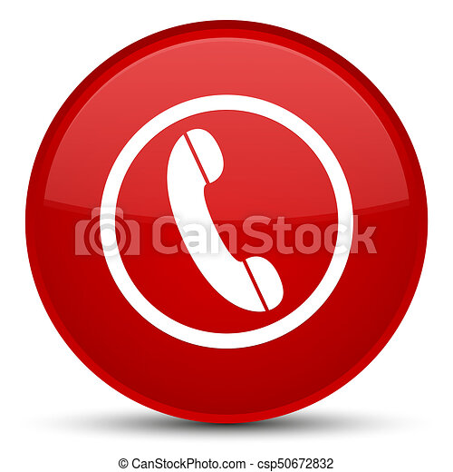 Phone icon special red round button - csp50672832