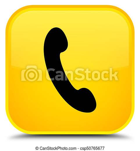 Phone icon special yellow square button - csp50765677