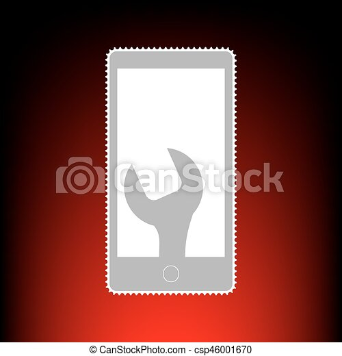 Phone Icon With Settings Postage Stamp Or Old Photo Style On Red Black Gradient Background