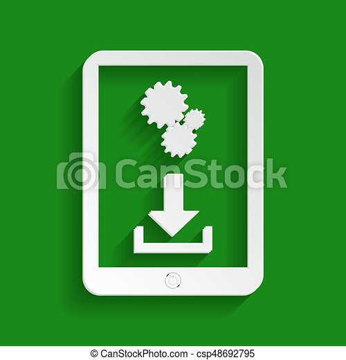 Phone icon with settings symbol. Vector. Paper whitish icon with soft shadow on green background. - csp48692795