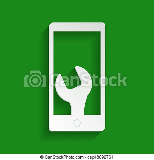 Phone icon with settings. Vector. Paper whitish icon with soft shadow on green background. - csp48692761