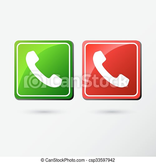 Phone icons set in button isolated on white background - csp33597942