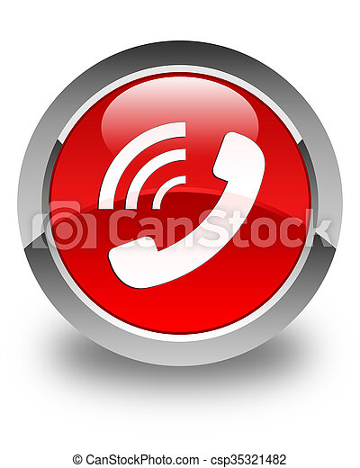 Phone ringing icon glossy red round button - csp35321482