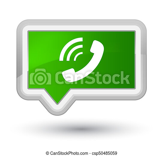 Phone ringing icon prime green banner button - csp50485059