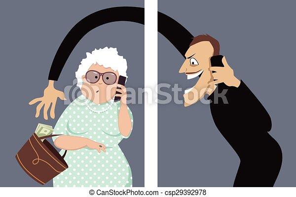Phone scam targets seniors - csp29392978