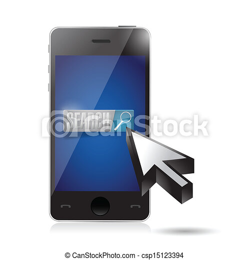 phone search button and cursor illustration - csp15123394