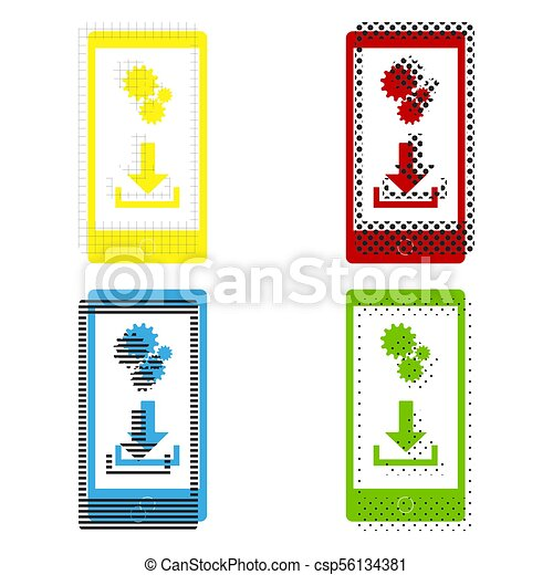 Phone Settings Download And Install Apps Vector Yellow Red Blue Green Icons With Their Black Texture At White