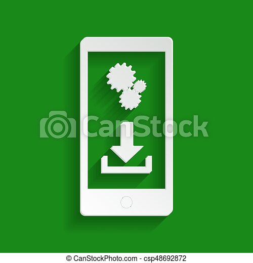 Phone settings. Download and install apps. Vector. Paper whitish icon with soft shadow on green background. - csp48692872