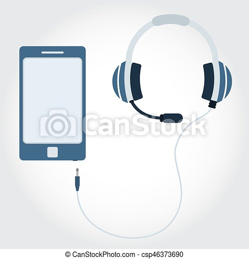 Phone With Headphone And Microphone Phone And Cable With Headphone And Microphone Flat Design Empty Space For Insert Text
