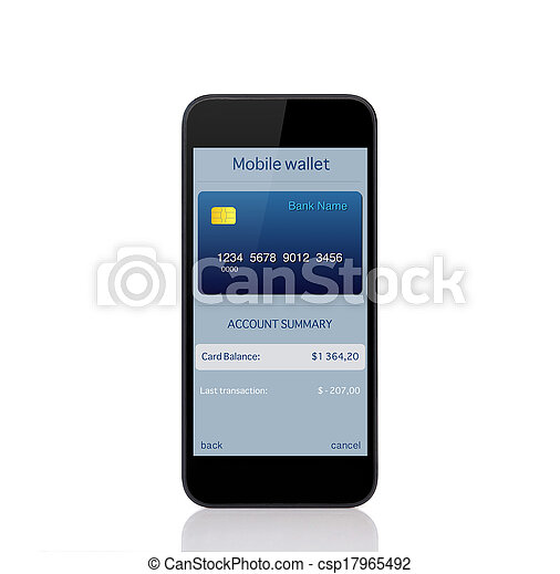phone with mobile wallet onlain shopping on the screen - csp17965492
