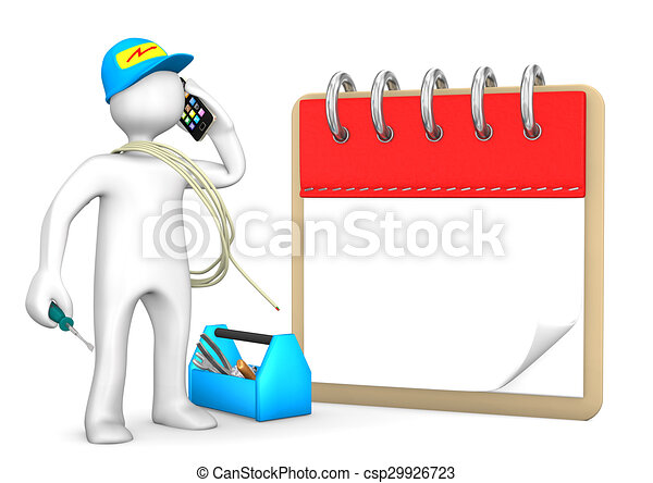 Phoning Electrician Notepad - csp29926723