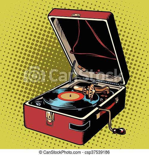Phonograph Vinyl Record Player Pop Art Retro Vector Music
