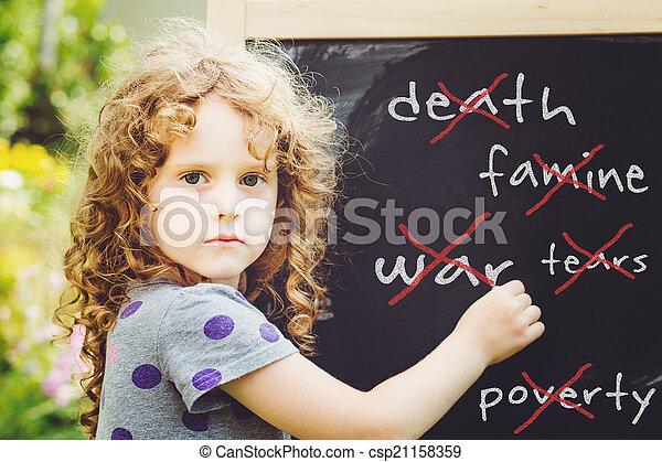 phot, schrijft, vrede, blackboard., krijt, meisje, concept., verstevigend - csp21158359