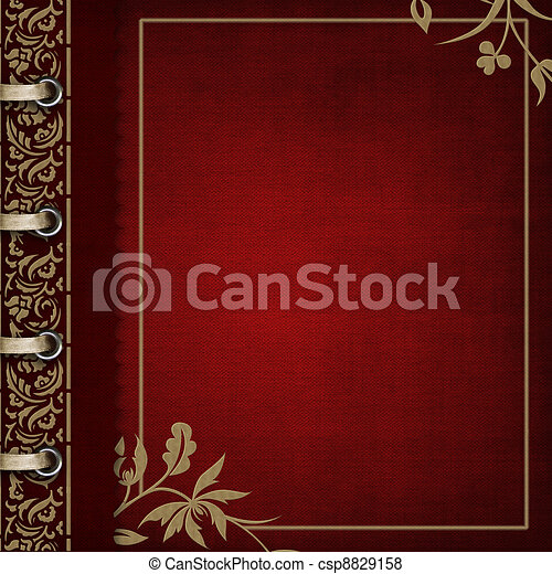 Photo album - red cover with bronzed ornate  - csp8829158