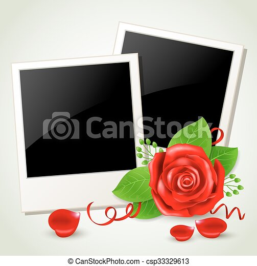 Photo and red rose - csp33329613