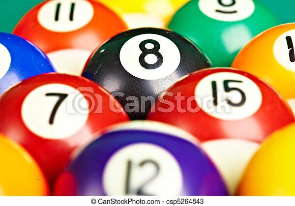 Photo billiard balls close up - csp5264843