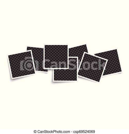 Photo blank square frames mockup 3d realistic vector illustration isolated. - csp69524069