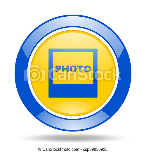 photo blue and yellow web glossy round icon - csp39856925