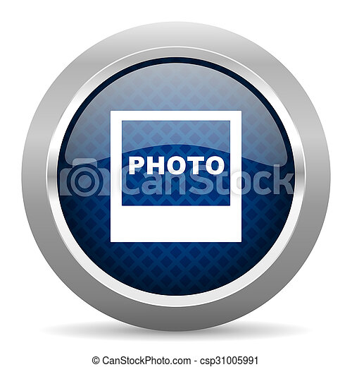 photo blue circle glossy web icon on white background, round button for internet and mobile app - csp31005991